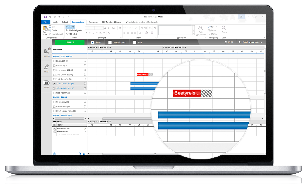Mødeplanlægning i Outlook timeline
