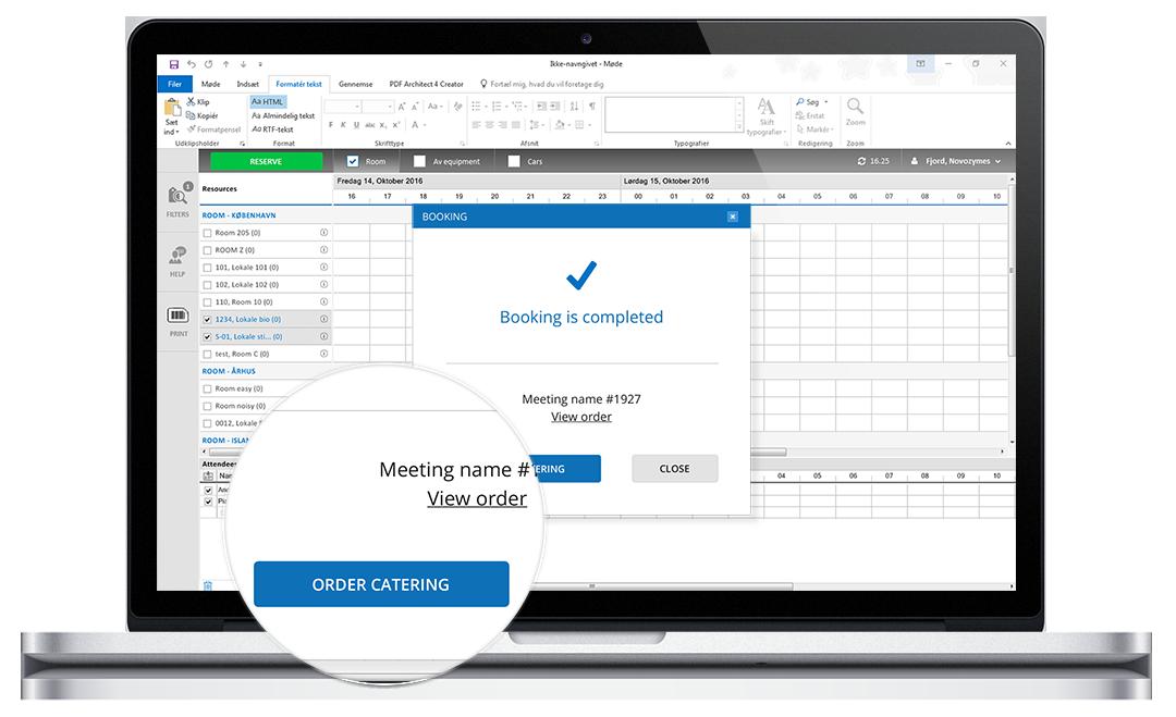 Synkronisering af Outlook møde og mødeforplejning
